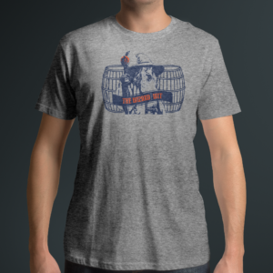 T-Shirt with Wizard and Barrels on Front